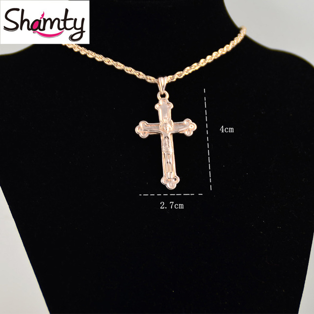 Shamty Free Shipping Rose Gold Color Cross Necklace Christian