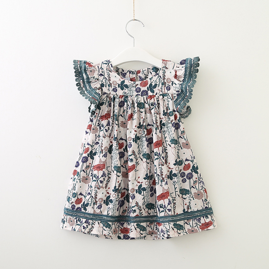 120:Advice Age:3-4years, Candy Little Girls Classical Animals Printed cat Dog Rabbit Sleeveless Summer Dress