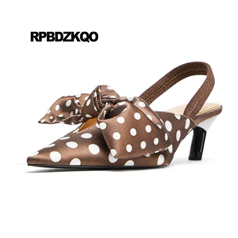 Slingback Brand Pointed Toe Satin Bow Kawaii Gold Women Party Shoes Polka Dot Pumps Kitten Novelty Sandals Golden Medium Heels цены онлайн