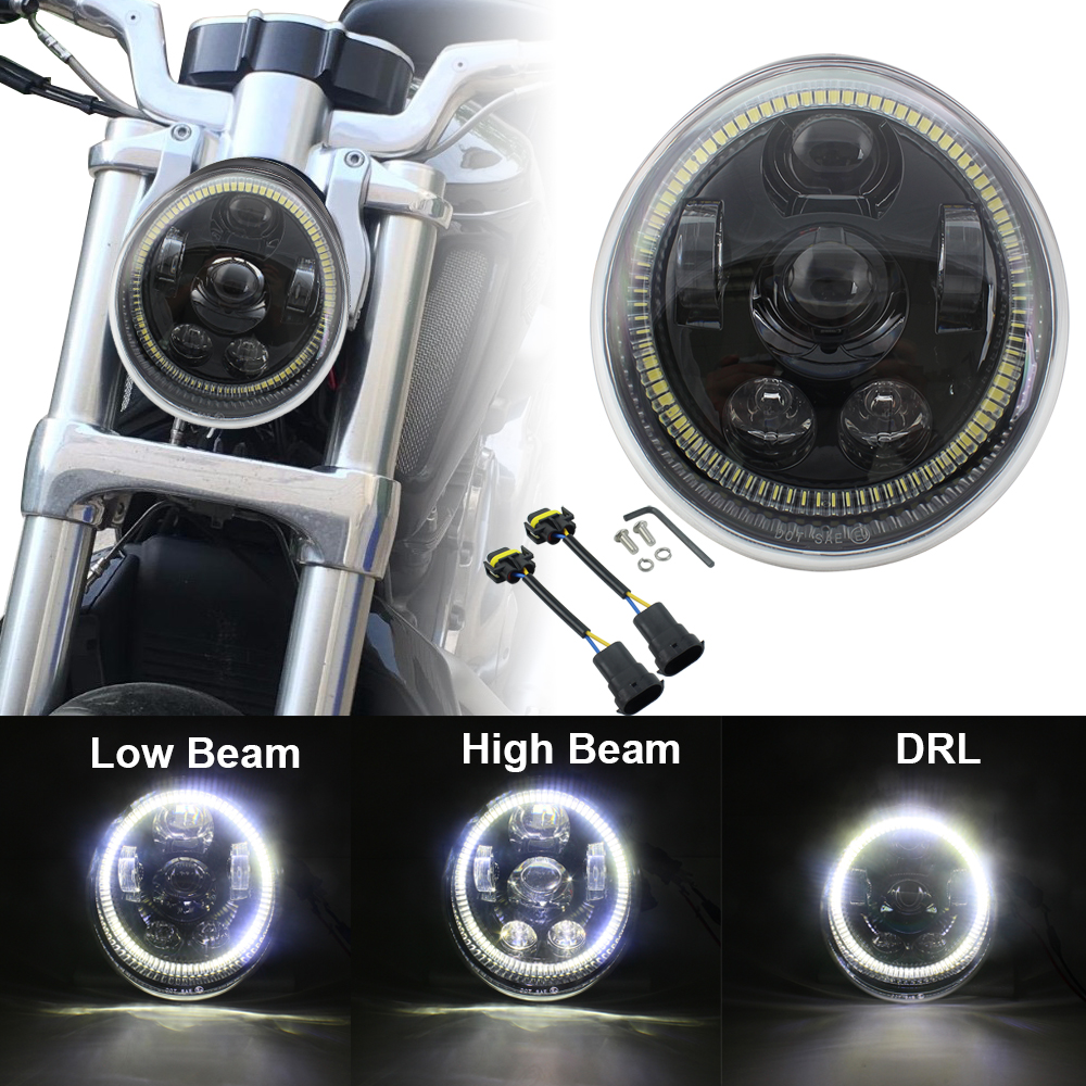 Led Lights DRL Halo 60W Motorcycle V Rod Headlight Assembly Daytime Running Light For Harley VROD VRSCF VRSC VRSCR 2002-2017Led Lights DRL Halo 60W Motorcycle V Rod Headlight Assembly Daytime Running Light For Harley VROD VRSCF VRSC VRSCR 2002-2017