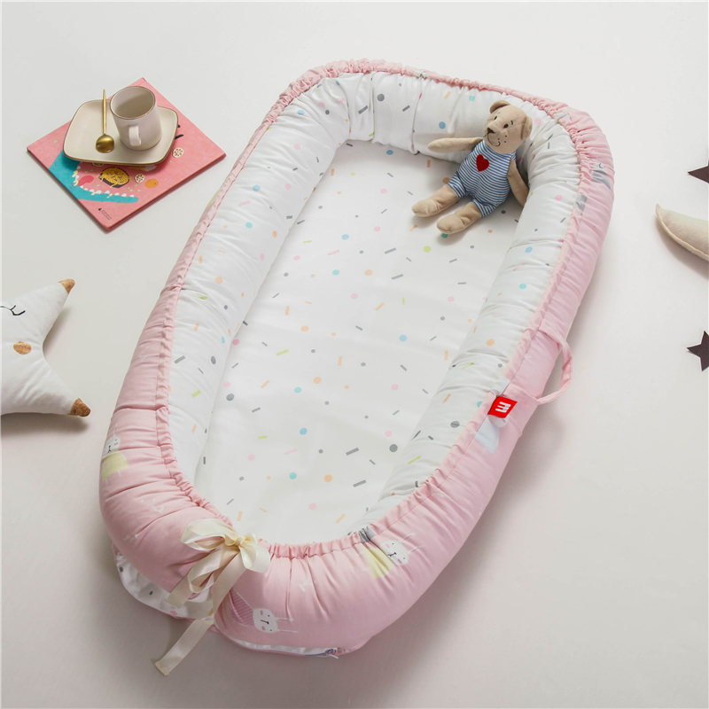 Washable Baby Nest Bed Crib Travel Bed Cot For Newborn Kids Cotton Cradle Newborn Bed Bumper