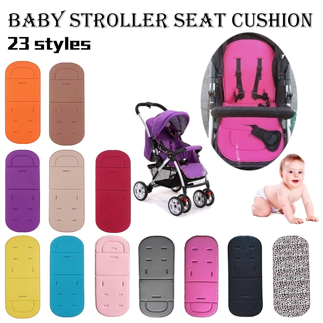 Baby Seats Newborn Baby Stroller Soft Cushion Pushchair Cover Padding Car Seat Pad Liner Mats Cushion Pad Accessories