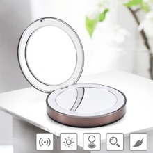 купить Travel mirror LED vanity lamp makeup mirror foldable pocket mirror 1x / 3x adjustable portable travel mirror дешево