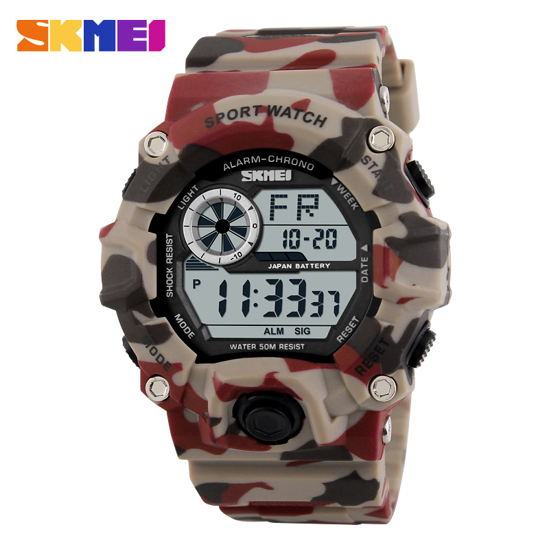 1019 Men Digital Wristwatches Sport Watch Chronograph Alarm Resin Glass Clock LED Military Man Sports Watches