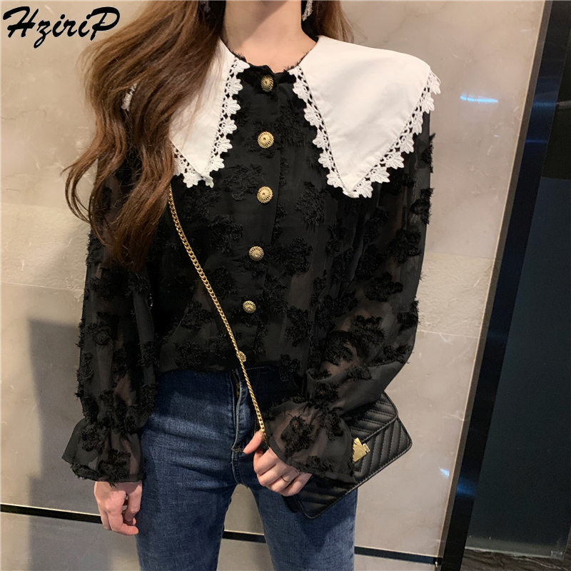 HziriP 2019 Spring Fashion Elegant Women Blouses Peter Pen Collar Casual Sweet Chiffon Shirt Solid Face Floral Women Tops Shirts