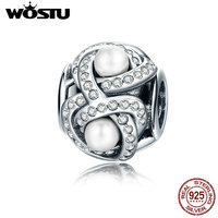 WOSTU Pure 925 Sterling Silver Luminous Love Knot Charm Beads Fit Original Pandora Bracelet Jewelry Gift
