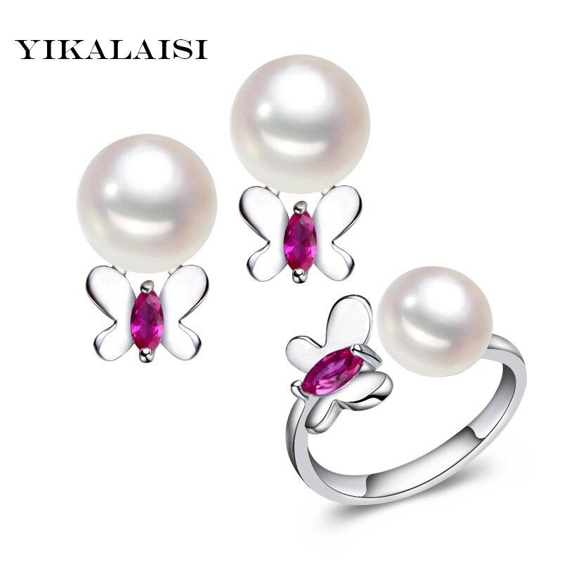 YIKALAISI 925 ստերլինգ արծաթյա զարդեր Pearlearrings զարդեր Բնական քաղցրահամ ջրերի մարգարիտ թիթեռներ օղակներ են զարդեր կանանց համար