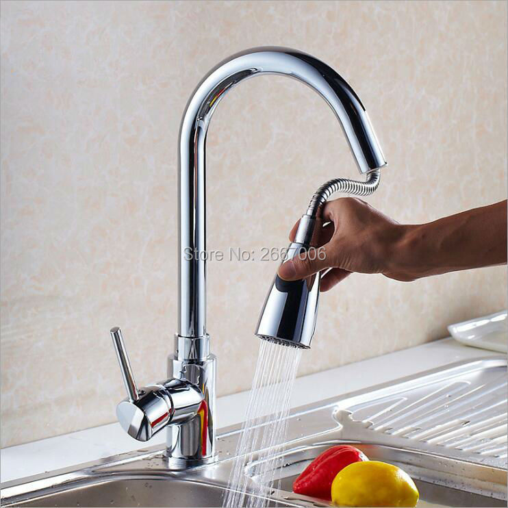 все цены на Free shipping Morden Deck Mounted Pull Out Sprayer Kitchen Faucet Tap Hot And Cold Chrome Brass Kitchen Mixer Taps Crane ZR662
