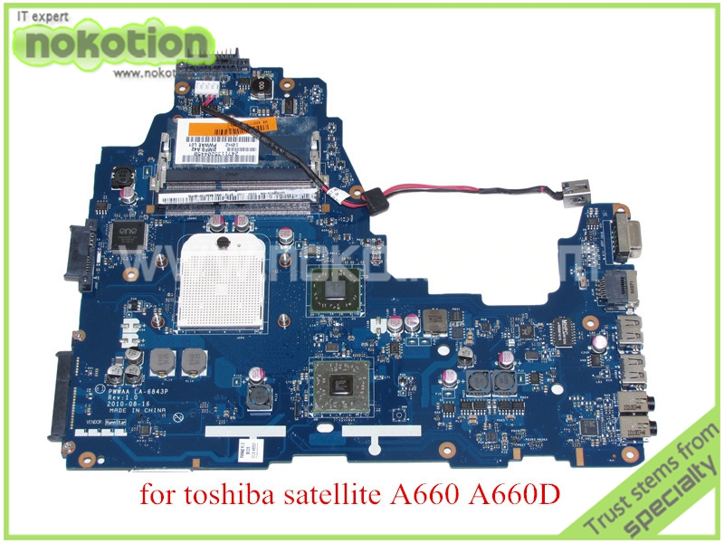 NOKOTION PWWAA LA-6843P MB K000111550 For toshiba satellite A660 A660D Laptop motherboard ATI HD4200 DDR3 nokotion sps v000198120 for toshiba satellite a500 a505 motherboard intel gm45 ddr2 6050a2323101 mb a01