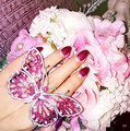 Fashion pearl pink rhinestone Large butterfly rings For women exaggerated gem open bridal wedding silver finger ring ladies