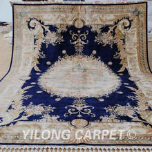 Yilong 8.5'x11.5′ Tabriz oriental rug antique dark blue Turkish silk carpet (1657)