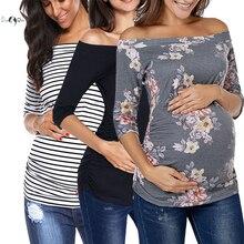 Набор из 3 шт., женские топы с открытыми плечами для беременных, Женский Топ, одежда для мамы, Футболка для беременных