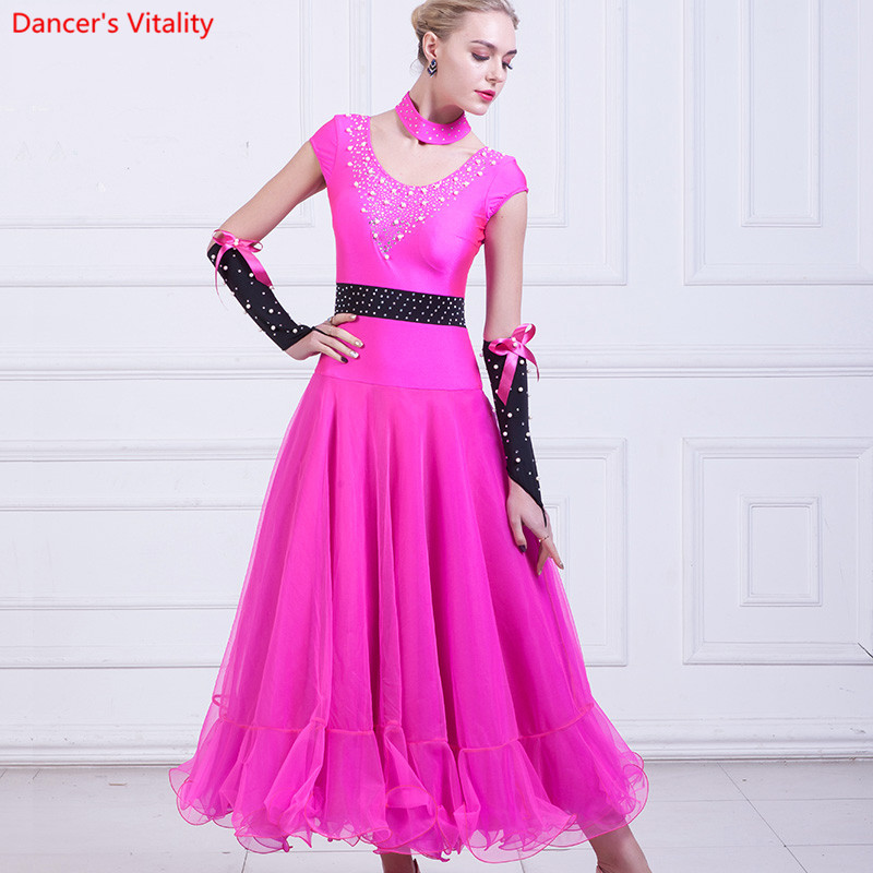 Black Rose rhinestones Belly Dance Dress Dance Competition Standard Dance Modern Costume Salon Dress Waltz Costumes