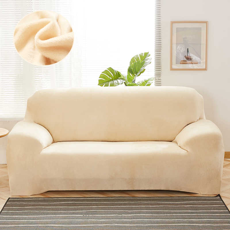Stupendous Elastic Slipcover Solid Color Thick Plush Stretch Sectional Sofa Covers For 1 2 3 4 Seater Corner Sofa Couch Covers 1Pcs Download Free Architecture Designs Rallybritishbridgeorg