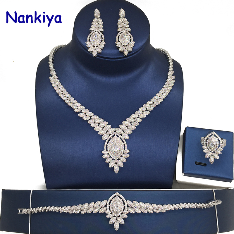 Nankiya 2018 Shining Cubic Zircon India Jewelry Set Fashion Design 4pcs Wedding Necklace Jewelry Bridal Sets