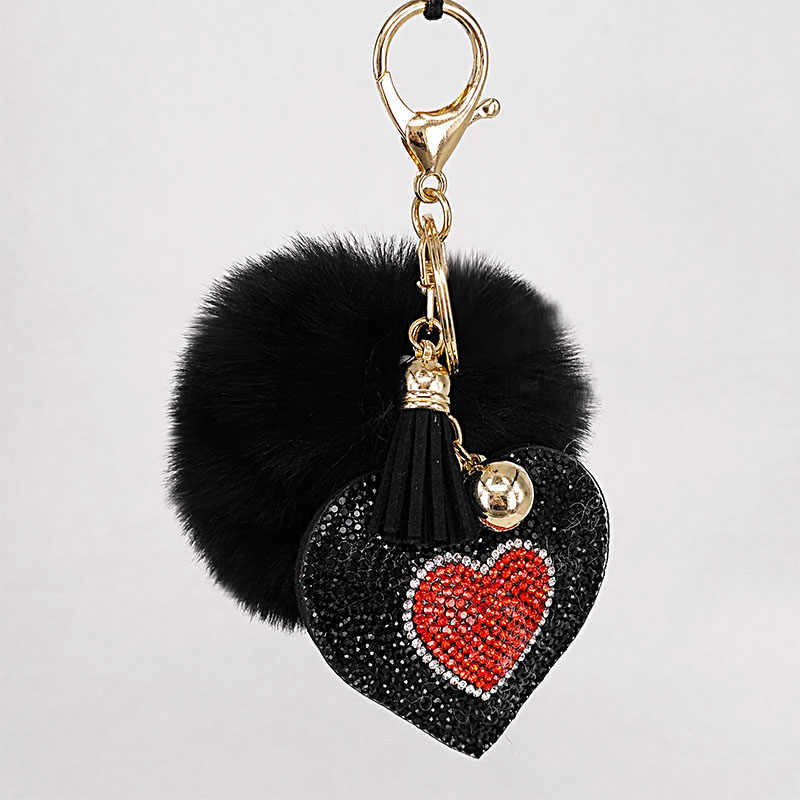 Llaveros de pompón Corazón de diamantes de imitación Bolsos De Mujer llavero hecho a mano accesorios llaveros colgantes encantadora decoración de suspensión