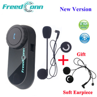 FreedConn Motorcycle Intercom Bluetooth Helmet Headset T COM FM 2 Riders BT Interphone Moto Intercomunicador+Soft Mic