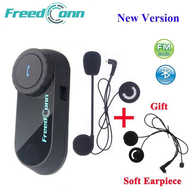 Freedconn motocicleta intercomunicador capacete bluetooth fone de ouvido T COM fm 2 pilotos bt interfone moto + microfone macio