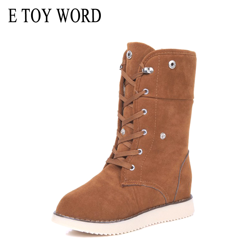 E TOY WORD Women Winter Boots Keep Warm Woman Flat Shoes Plush snow boots Mid-Calf cotton shoes women lace-up ladies boots plus size 34 47 new autumn winter plush women boots mid calf snow boots woman keep warm mother botas butterfly flats roman shoes