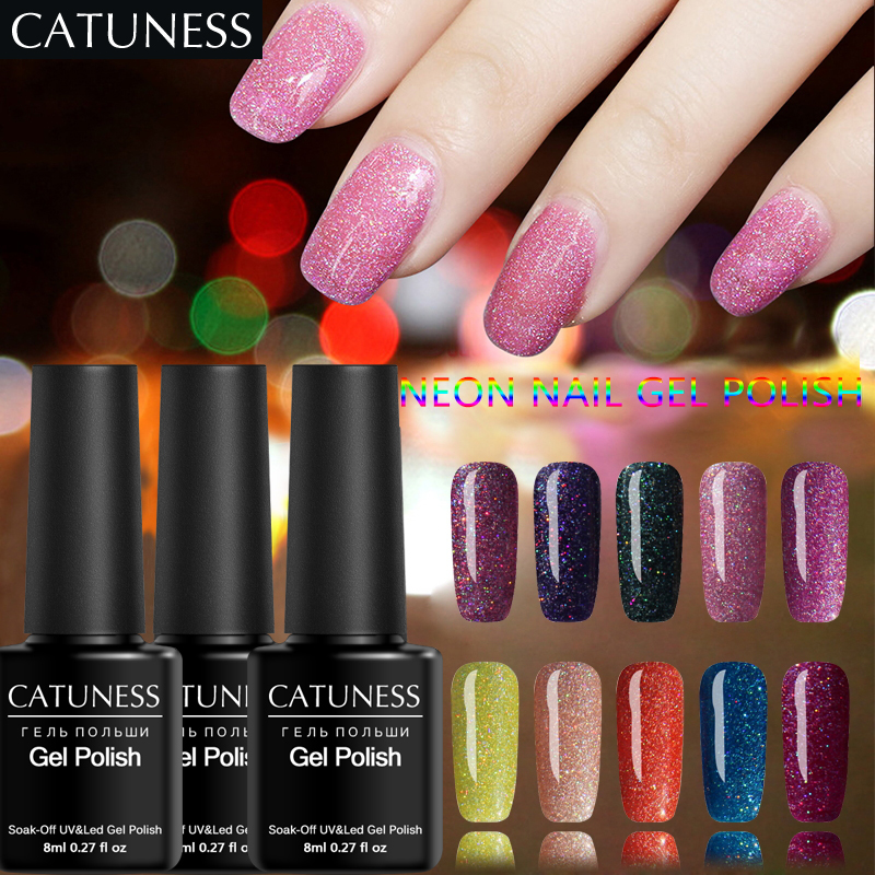 Professional Nail Hardener: CATUNESS Permanent Neon UV Gel Polish Soak Off Supplies
