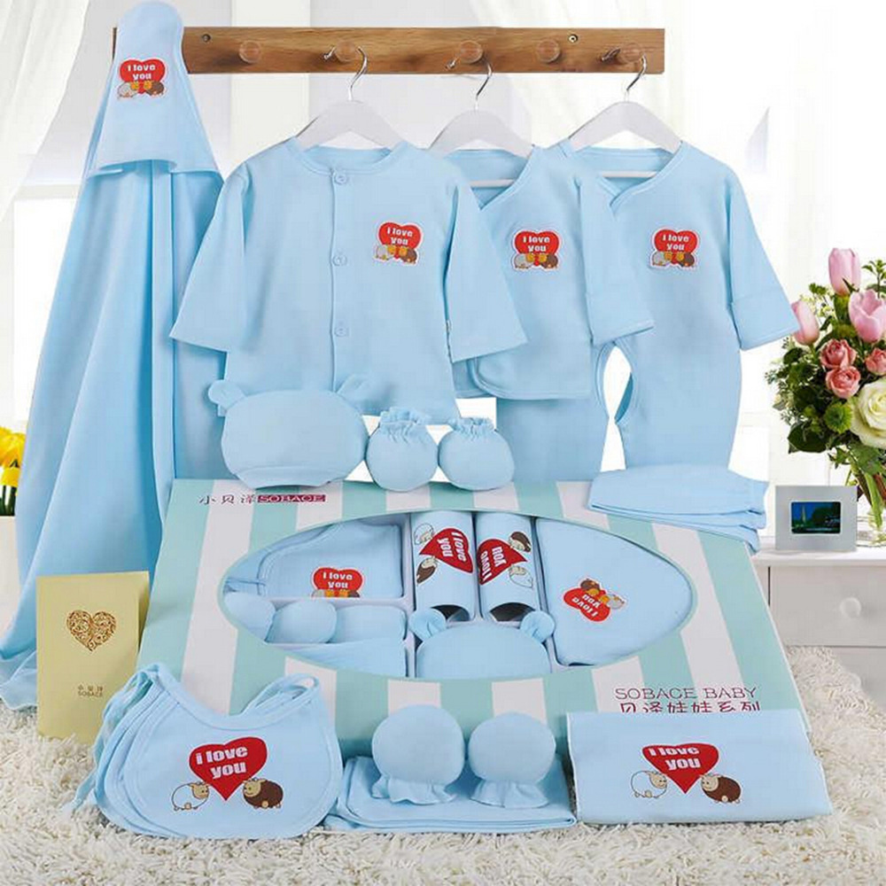 2017 Newborn Clothing Fashion Cotton Infant Underwear Baby Boys Girls Suits Set 17 pieces Clothes for 0-3M Clothing Sets