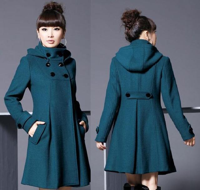 2016 Новых Женщин Шерстяное Пальто Длинный Шерстяное Пальто Меховой Воротник 4XL плюс Размер Пальто Плащ Юбка Зимние Девушки Пальто Манто Femme 1.5