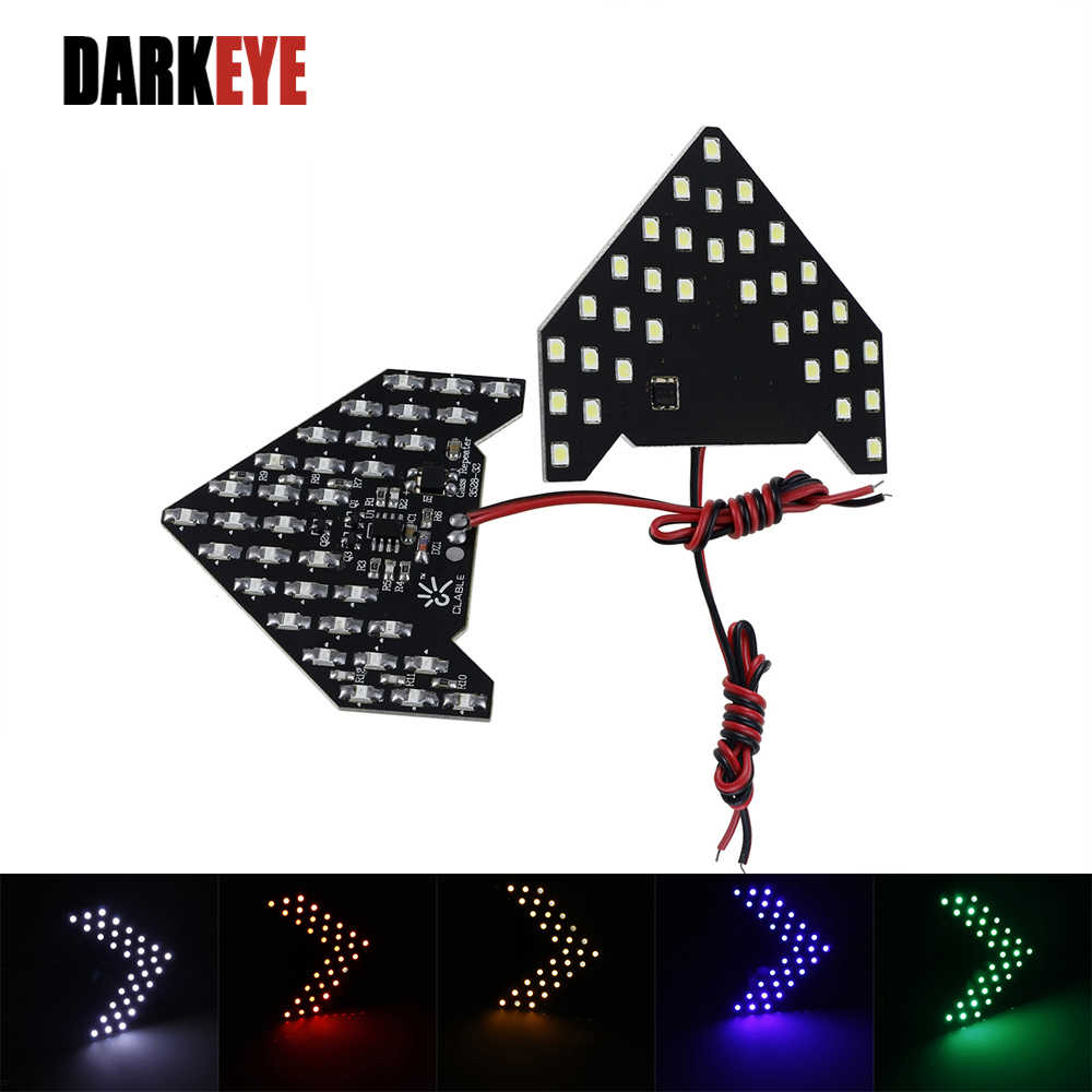 2Pieces Car LED 12V 3528 33SMD Arrow Panels Car Side Mirror Turn Signal Indicator Sequential 5 colors Flash Light Lamp G