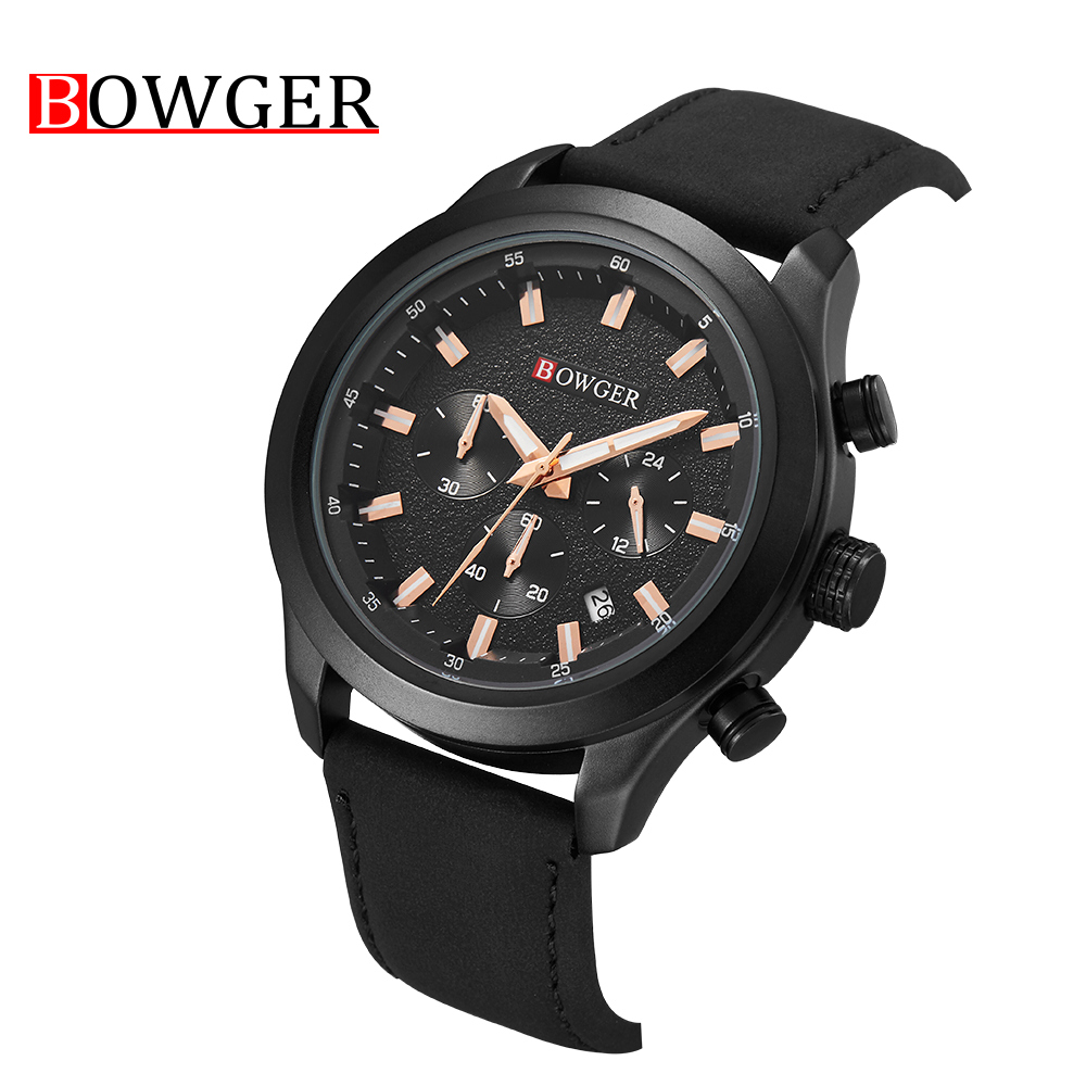 2018 Bowger Men's Fashion Sport Watches Men Quartz Analog Date Clock Man Leather Military Waterproof Watch Men Relogio Masculino цена и фото