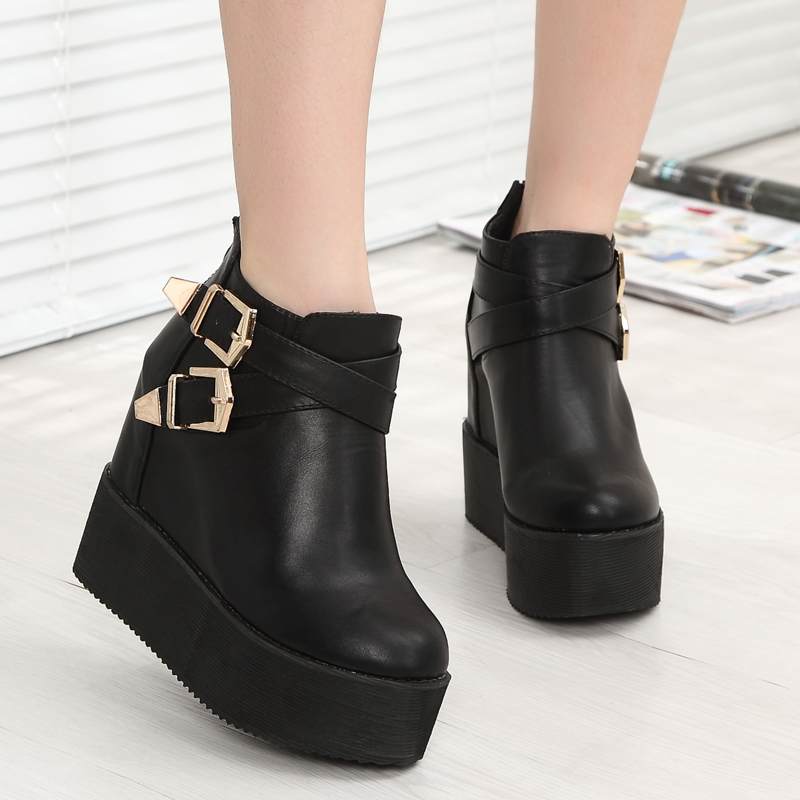 ФОТО winter boots 12cm Women's platform shoes wedge high-heeled ankle boots black botas mujer