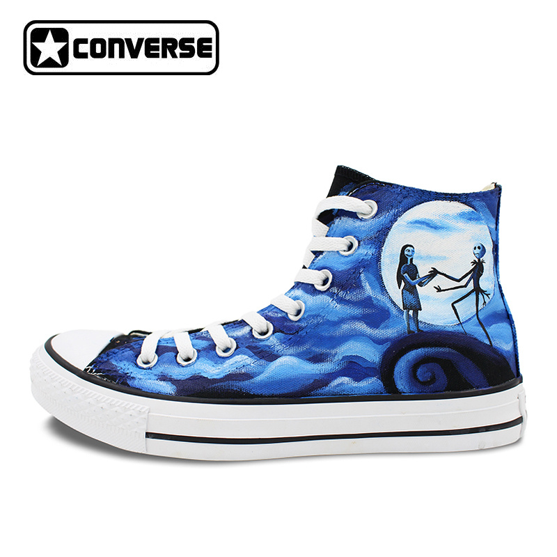 Men Women's Converse All Star Hand Painted Shoes The Nightmare Before Christmas Design High Top Canvas Sneakers Man Woman converse all star high top shoes for men women dreamcatcher design flats lace up canvas sneakers for gifts
