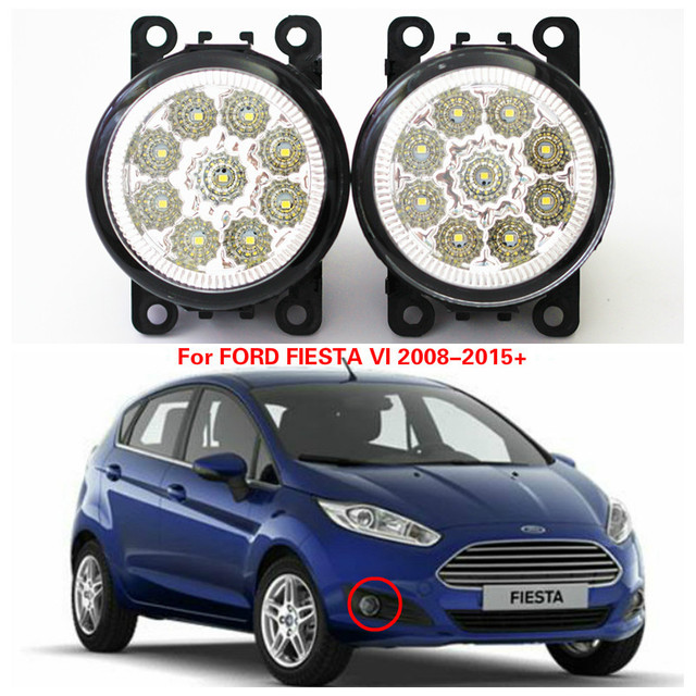 Us 27 98 For Ford Fiesta Vi 2008 2015 Car Styling Led Highlighting The Front Bumper Fog Lamps White Red Blue Yellow Green Car Covers 12v In Car