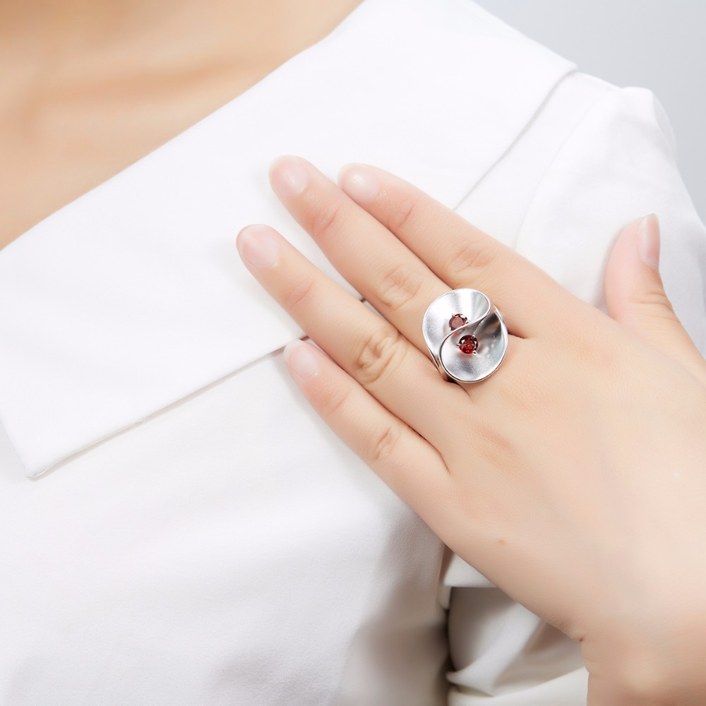 7e6c7635c Hutang Garnet Floral Wedding Rings Solid 925 Sterling Silver Natural  Gemstone Fine Stone Jewelry Unique Design For Women Girls-in Rings from  Jewelry ...