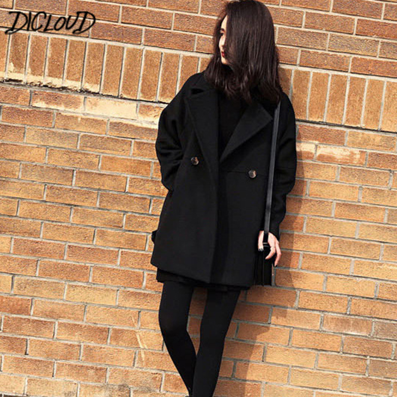 DICLOUD Black Coats Women 2018 Winter Long Coat Ladies Double Breasted Outerwear Fashion Jackets Female Brand Designer Clothes
