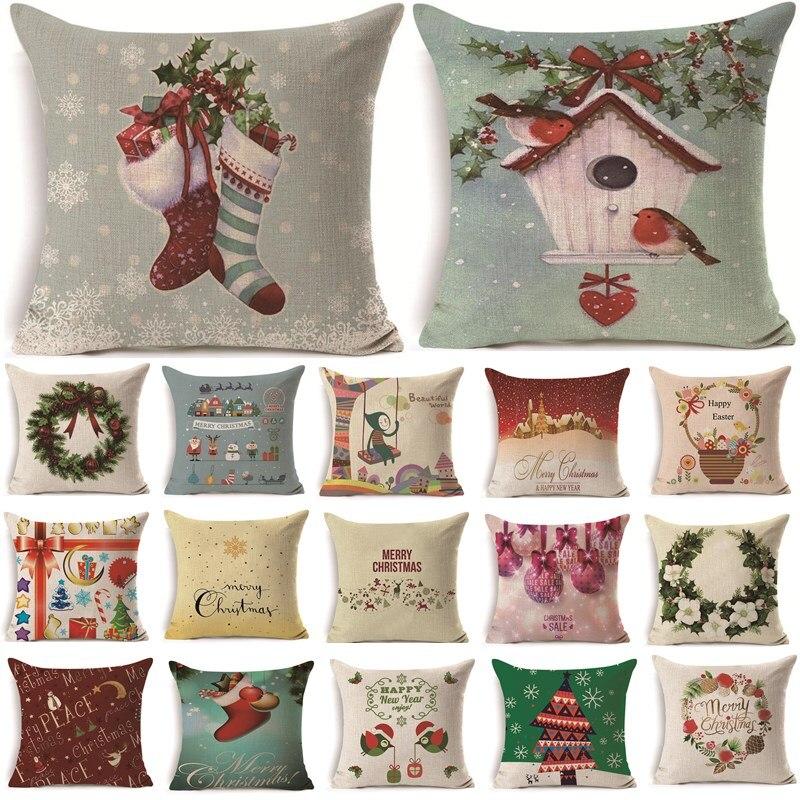 1 Pcs 43*43 Cm Kerstcadeaus Bloem Patroon Katoen Linnen Sierkussen Kussenhoes Auto Thuis Sofa Decoratieve Kussensloop 40486 Weelderig In Ontwerp