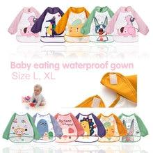 цена на Bibs Toddler  Waterproof Long Sleeve Apron Cartoon Animals Children Cute Baby Feeding Smock Bib Baby Stuff