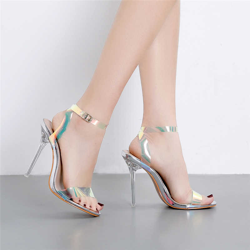 2019 קיץ נשים קריסטל 11cm גבוהה עקבים סנדלי צבעוני רצועת נקבה שקוף מתכת ברור העקב פטיש חשפנית נעלי גומי