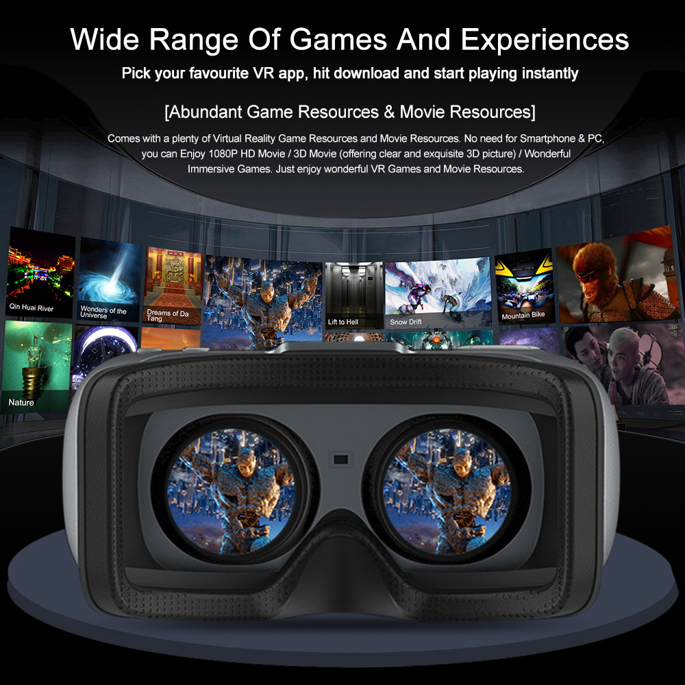 Vr Shinecon Vr All In One Virtual Reality Headset 3d Glasses 1080p 5 5inch Ips 108 Fov Wifi Bluetooth 4 0 W Usb Port Tf Slot 3d Glasses As Sunglasses 3d Glasses Online Buy