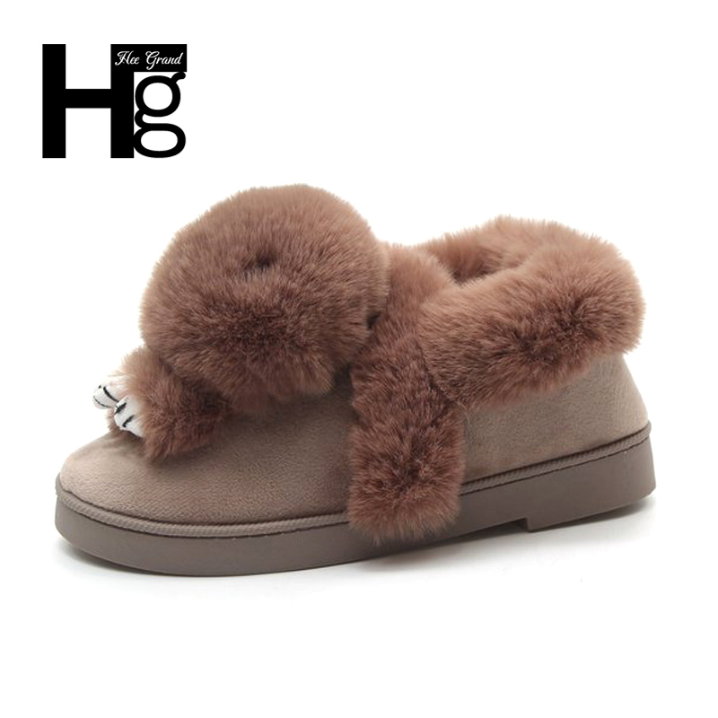 HEE GRAND Cute Rabbit 5 Color Snow Boot Women Winter Warm Platform Slip on Brown Ladies Shoes Young Snow Ankel Boots XWM215 2015 new arrival fashion women winter snow boots warm ladies shoes bowtie slip on soft cute shoes purple color sweet boots