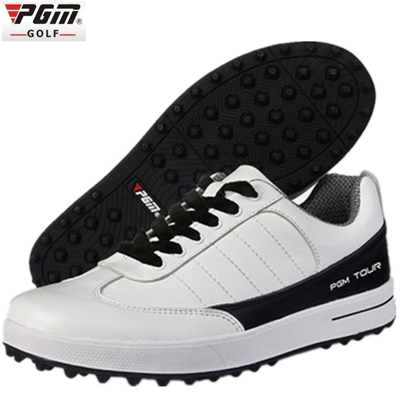 Genuine PGM Golf Shoes Men Waterproof XZ937 Rubber Cotton Fabric EVA Breathable Beginner White zapatos de golf deporte golf shoe 2017 pgm genuine leather breathable waterproof golf shoes men movable soft spike golf shoes with laces rotating device
