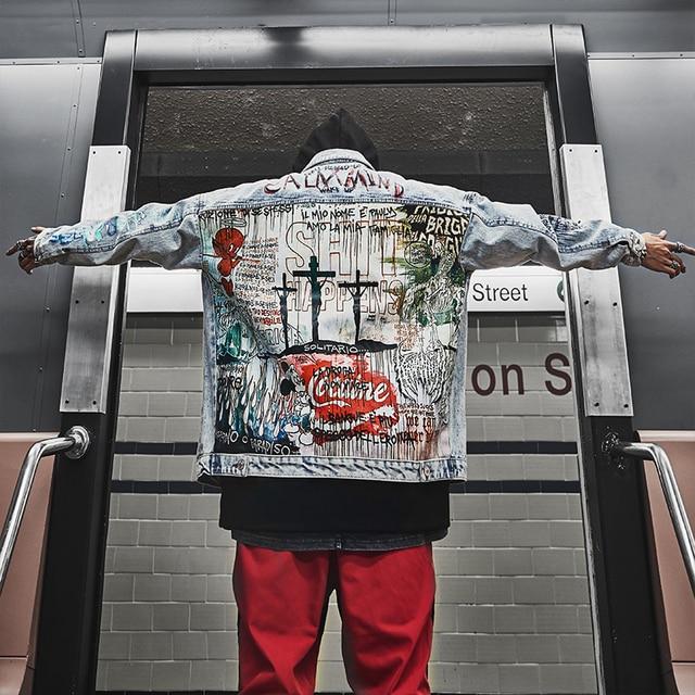 US Size Devil Hand Painted Denim Jacket Men Jeans Jacket Cartoon Graffiti Print Loose Coats Vintage Hip Hop Fashion Jacke DG79
