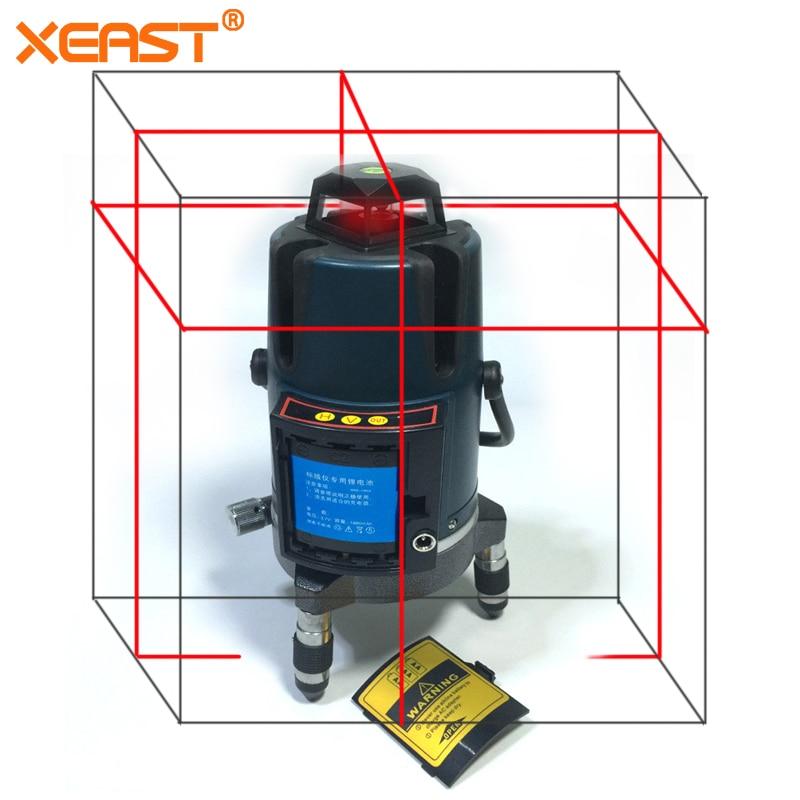 XEAST XE-17A NEW 3D Red Laser Level 8 lines tilt mode Self Leveling Meter 360 degree rotary cross Red Beam цена