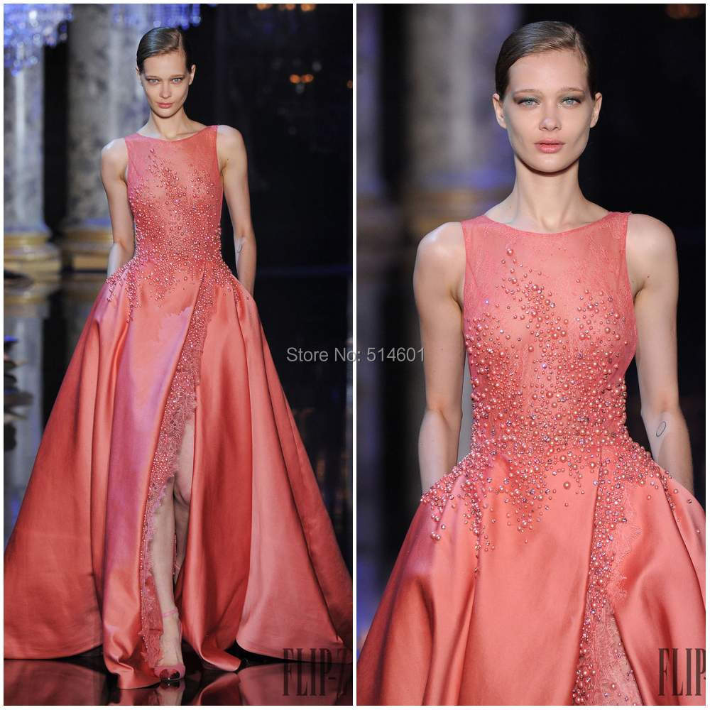 New Arrival Front Slit Pearls Lace Satin Elie Saab Evening Dress ...