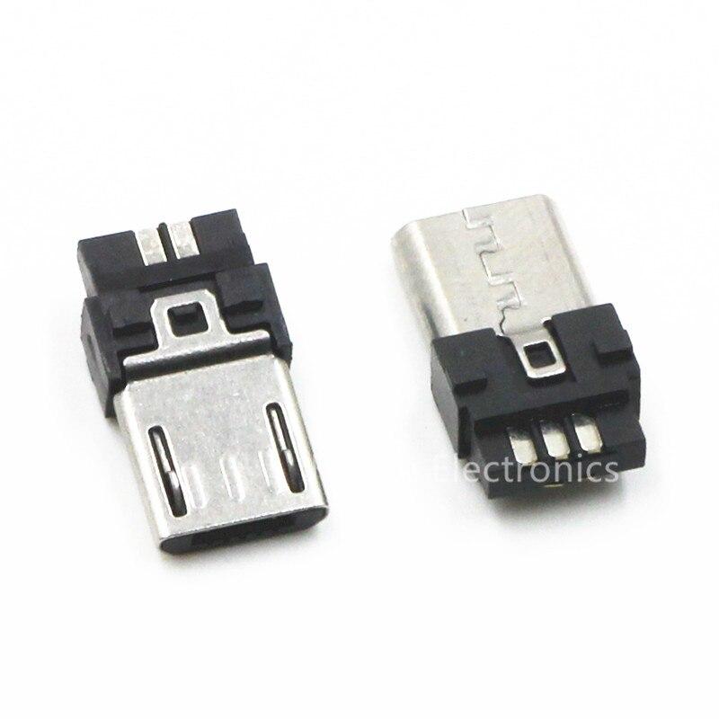 10pcs Micro USB 5 Pin T Port Male Plug Socket Connector&Plastic Cover for DIY