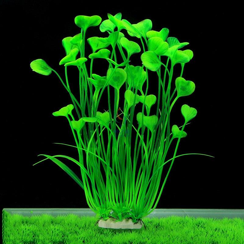 A Forma di cuore di Acqua Erba Artificiale Piante Decorazione Acquario per Serbatoio di Pesce Acquatico Ornamento Paesaggio Altezza 40 centimetri