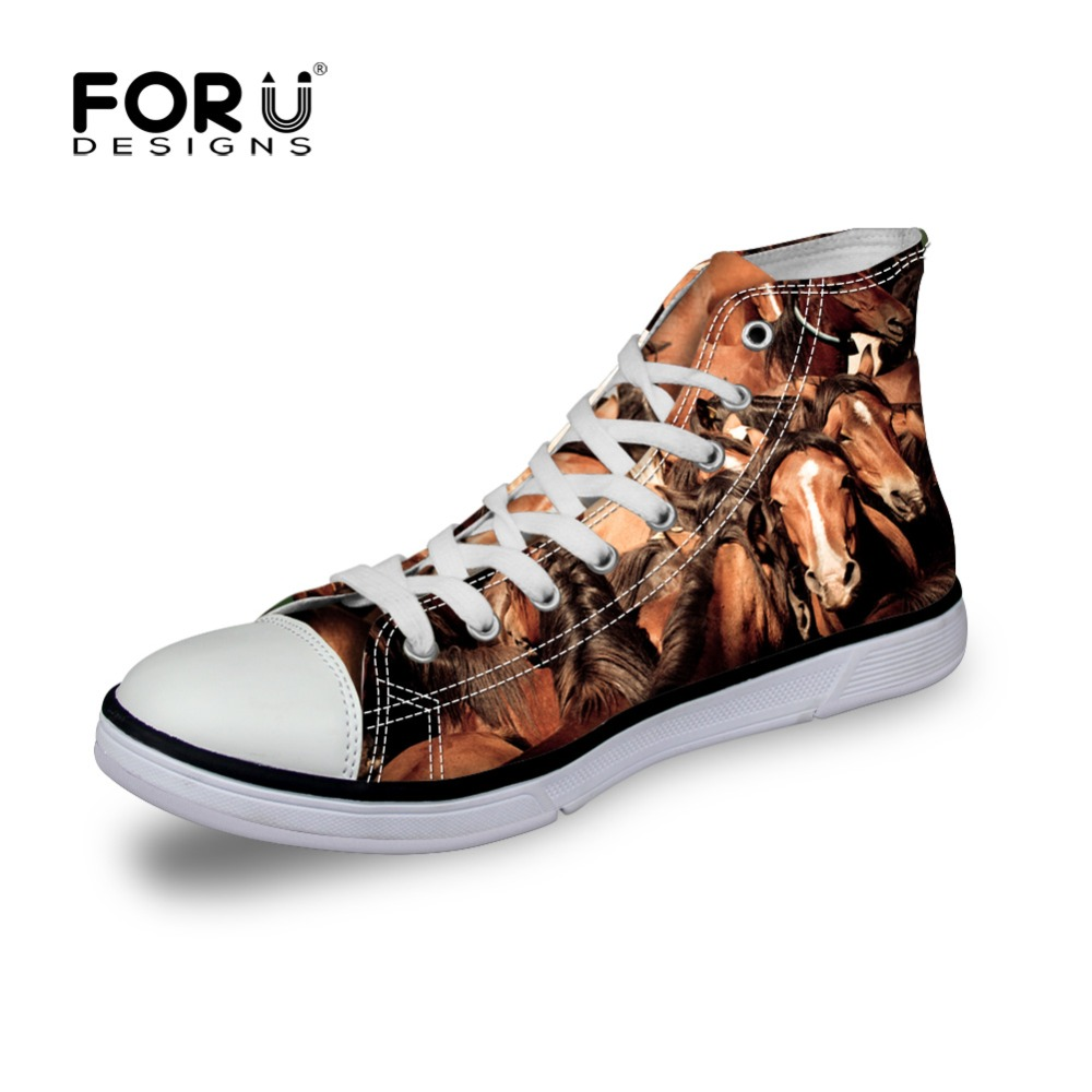 FORUDESIGNS Men High Top Canvas Shoes,Printing Crazy Horse Mens Fashion Casual Shoes Hot Sale, Flats Walking Shoes for Men