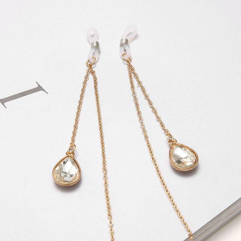 Fashion Womens Gold Eyeglass Eyewear Sunglasses Reading Glasses Chain Cord Holder Neck Strap Rope Crystal Pendant