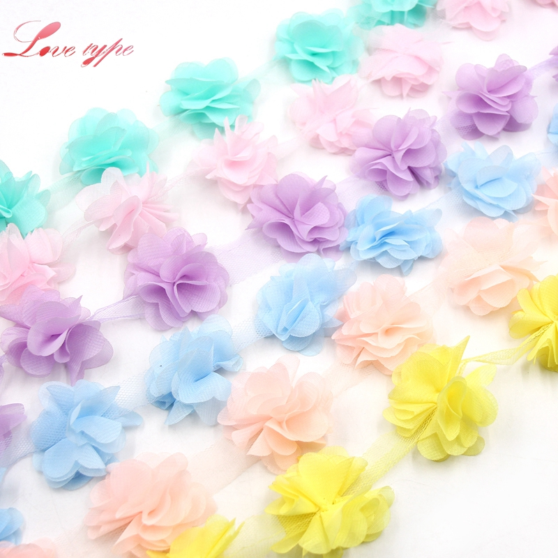 3Yard/Lot 3D Chiffon Cluster Flowers Organza Fabric Fringe Trim Lace Ribbon DIY Sewing Applique Dress Accessaries Supplies