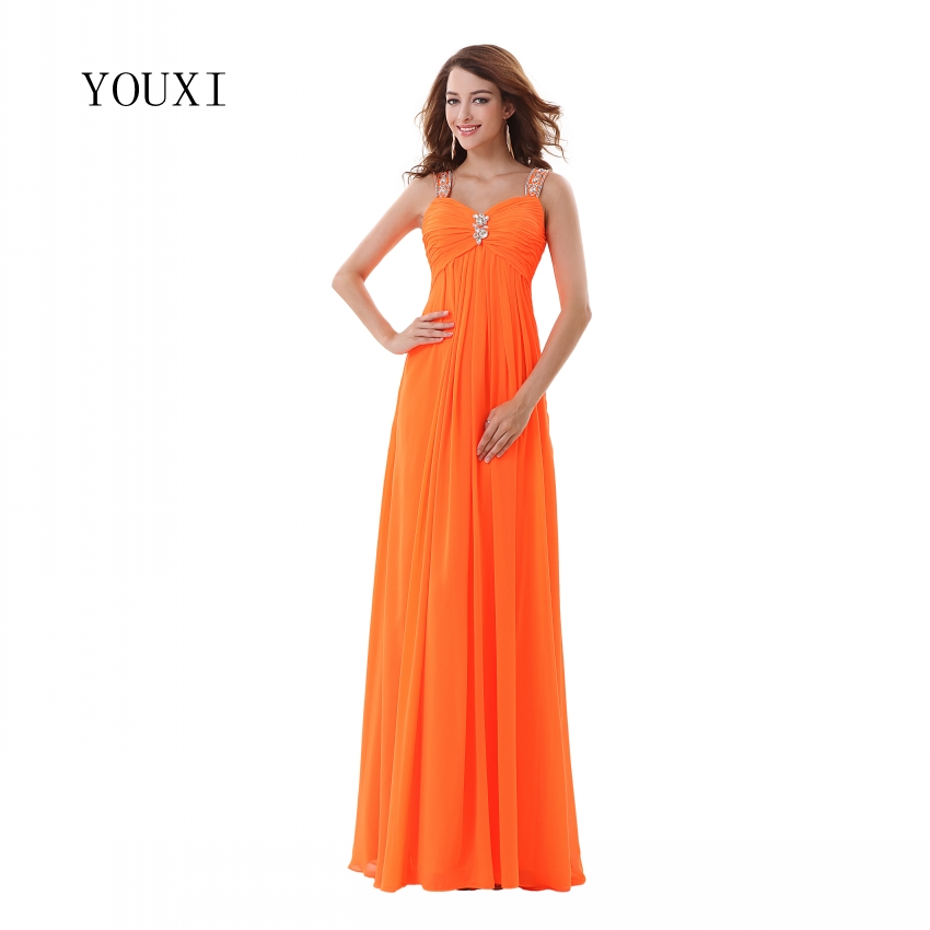 Sexy Crystals Spaghetti Strap Orange   Prom     Dresses   2019 Formal A-Line Long Wedding Party Gowns PD34