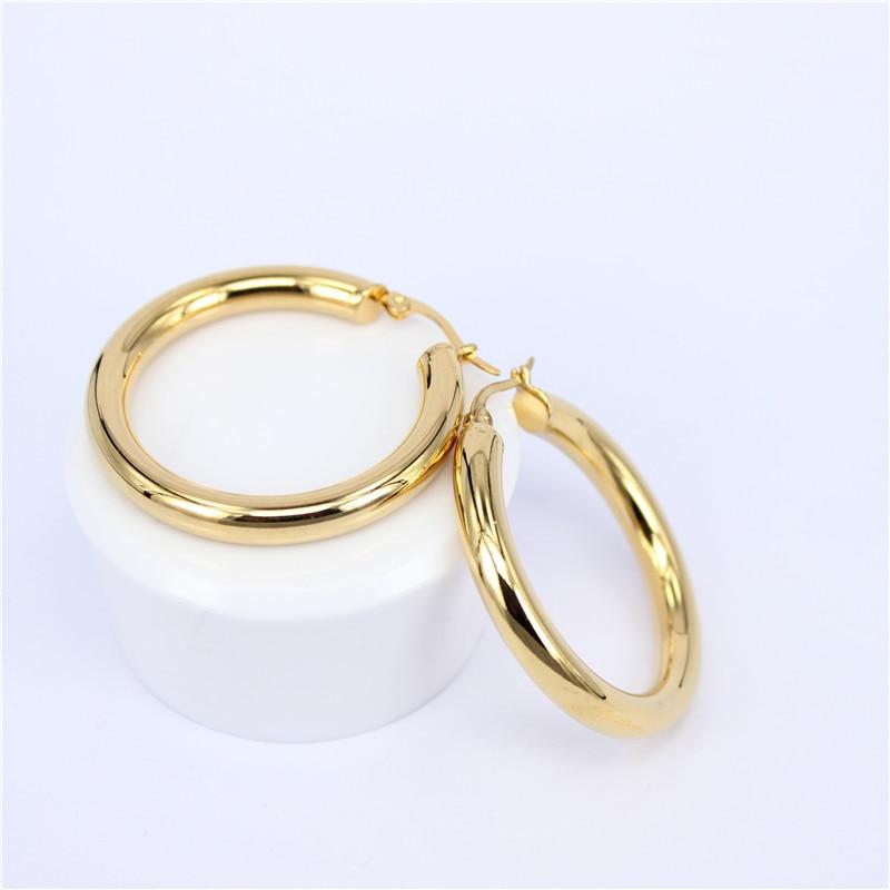 MGUB aukso spalvos apskritimo kreoliniai auskarai, nerūdijančio - Mados papuošalai - Nuotrauka 2