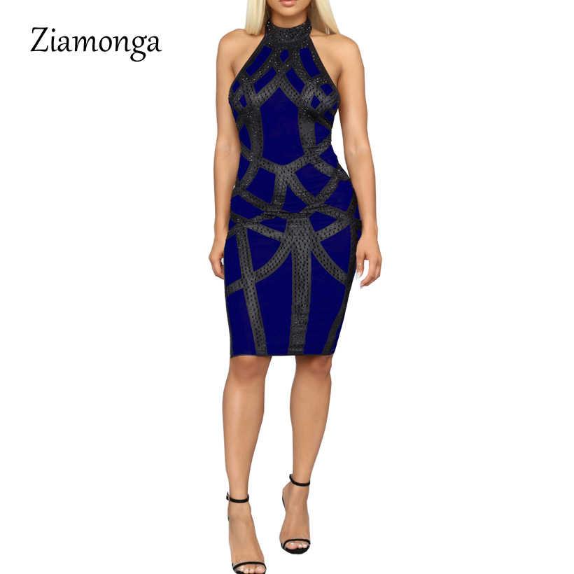 Ziamonga Для женщин PU сексуальное платье Лето облегающее платье без рукав